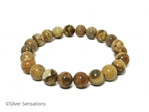Beige & Brown Picture Jasper Beaded Stretch Bracelet